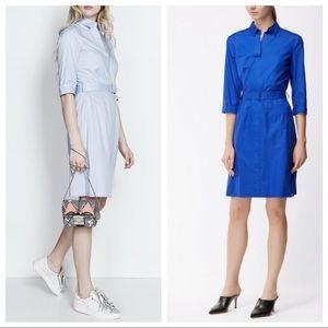 Stretch Cotton Belted Shirtdress Dashiri Blue 10